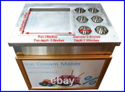 NEW 110V Single Flat Pan with Six Buckets Fried Ice Cream Machine Fried Steal