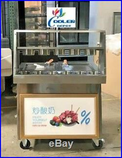 NEW 35 Two Pan Thai Fried Ice Cream Roll Making Machine Double Server F15