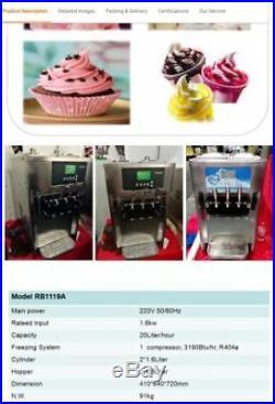 NEW SOFT SERVE ICE CREAM/ YOGURT MACHINE, NEVER USED, 3 flavors