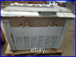 New CBJF-2D5C Dual Pan Rolled Ice Cream Frying Machine with 5 Topping Tanks