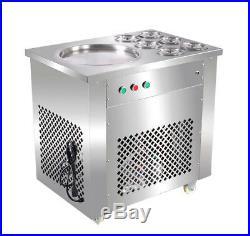 New Fried Ice Cream/Single Pan Roll Machine Full Stainless Steel 6 Buckets