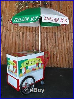 New ITALIAN ICE CART withUmbrella & Graphics Water Ice Vendor Concession