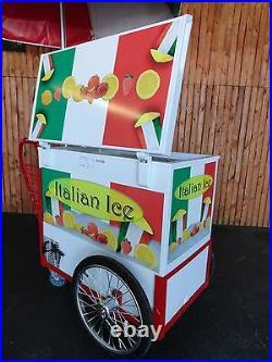New Model ITALIAN ICE CART withUmbrella & Graphics Water Ice Vendor Concession