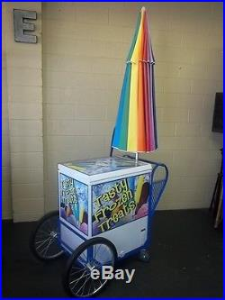 New Roadrunner Vendor Ice Cream Push Cart withUmbrella Custom Graphics HD Cart