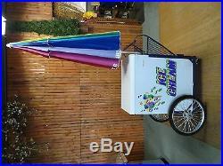 New Vendor Ice Cream Push Cart withUmbrella & Graphics Good Humor or Novelty Bars