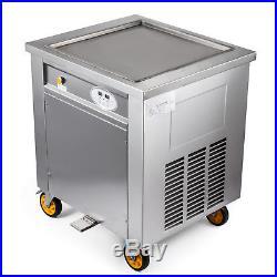 S/S 50cm Square Fry Pan Electric Thai Fried Yogurt Ice Cream Roll Machine Maker
