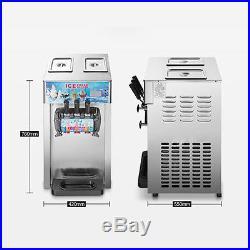 Soft Ice Cream Machine 3 Flavor Commercial Frozen Ice Cream Cones Machine New