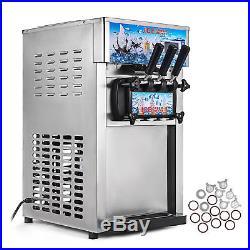 Soft Ice Cream Machine Frozen Yogurt Machine 18L/H Stainless Steel 3 Flavor USA