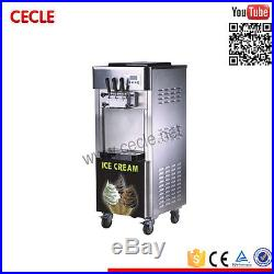 Soft Serve Ice Cream Machine 2+1mix Flavors Air Cooled Pump Feed 25L/H 220V/50hz