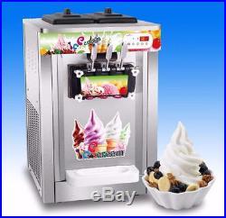 Soft Serve Ice Cream Machine Frozen Yogurt Triple Head 2 Flavours 1Mix Tabletop