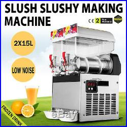 Solid Slush Machine 2 Tanks 30L Frozen Margarita Drink Machine US Shipping