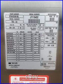 Taylor 794 3 Phase Water Cooled Soft Serve Frozen Yogurt Ice Cream Machine