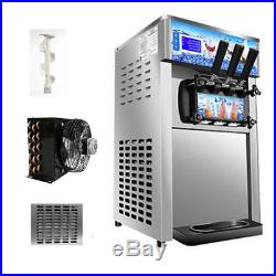 USACommercial Soft Serve Ice Cream Machine 110V 3Flavor Frozen Yogurt Machine