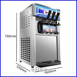 USA Commercial Soft Ice Cream Machine 3 Flavor Frozen Yogurt Cone Maker Machine