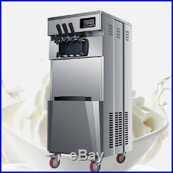 USA Frozen Soft Serve Ice Cream Maker Machine Mix Flavors 3 Head 20L/H 5.3Gal/H