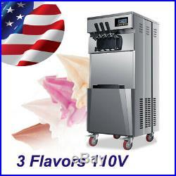 USA High Efficiency 3 Flavor Soft Serve Frozen Ice Cream Machine For Cafeteria
