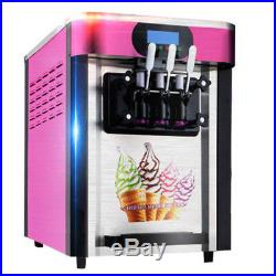 USA NEW Commercial Soft Ice Cream 3 Flavor Steel Frozen Yogurt Cone Maker A+