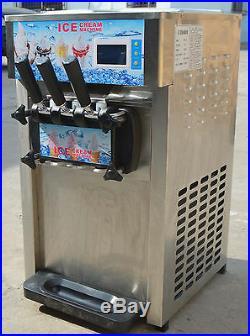 USED Commercial 3 Flavor Soft Ice Cream Frozen Cones Yogurt 110V Machine