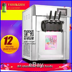 Usa ship, Hot Sale Commercial 3 Flavors Soft Ice Cream Machine, soft serve