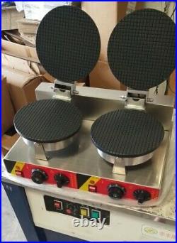 Used Ice Cream Cone Machine Egg Roll Waffle Maker Dual Baker Iron 110V Food