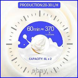 VEVOR 20-30L/H Commercial Soft Serve Ice Cream Maker 3 Flavors Ice Cream Machine