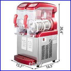 VEVOR Commercial Slushy Machine 2x6L Frozen Drink Ice Maker Automatic Clean LED