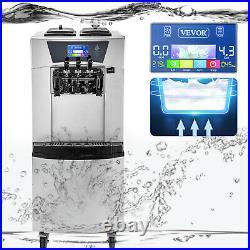 VEVOR Commercial Soft Ice Cream Machine 3 Flavors Soft Serve Maker 20-30 L/H