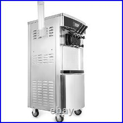 VEVOR Commercial Soft Serve Ice Cream Machine Frozen Yogurt Maker 3 Flavor 2200W