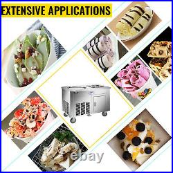VEVOR Fried Ice Cream Roll Machine Commercial Ice Roll Maker Single Pan 6 Boxes