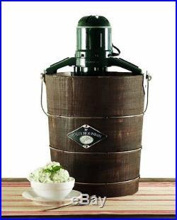 White Mountain ICE CREAM MACHINE, Wooden Bucket 6 Quart Electric ICE CREAM MAKER
