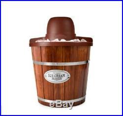 Wooden Ice Cream Bucket Electric Maker Machine Home Frozen Yogurt Sorbet 4qt